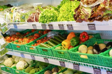 The large selection of salads and vegetables in the shops at Gstaad and Schönried