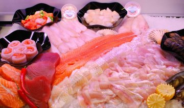 Fresh fish buffet at the butcher shop Buure Metzg